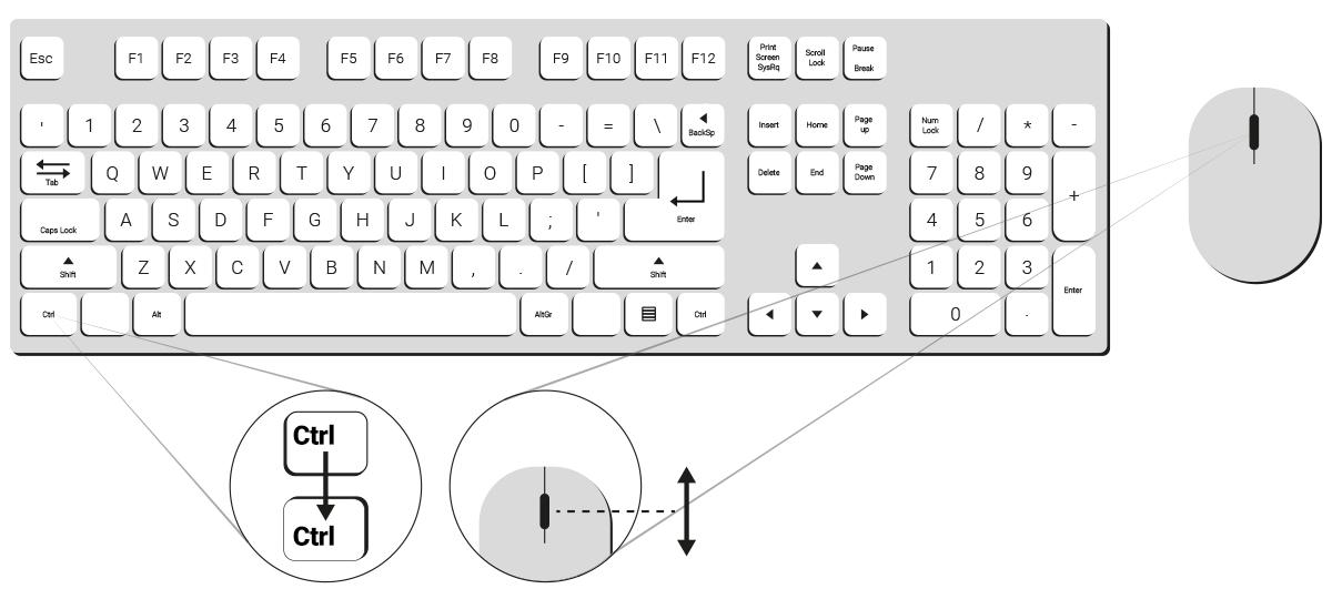 Verkkosivun suurentaminen ja pienentäminen onnistuu painamalla pohjaan CTRL-painike ja käyttämällä painike pohjaan pidettynä hiiren rullaa